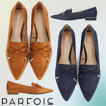 PARFOIS Casual Style Faux Fur Plain Loafer Pumps & Mules
