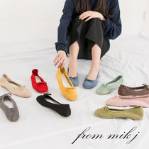 Suede Street Style Plain Ballet Shoes
