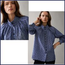 Massimo Dutti Dots Cotton Medium Elegant Style Puff Sleeves