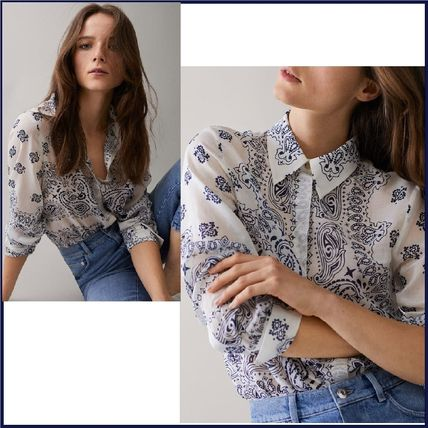 Paisley Casual Style Silk Long Sleeves Shirts & Blouses