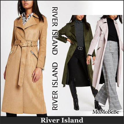 Casual Style Faux Fur Plain Long Trench Coats