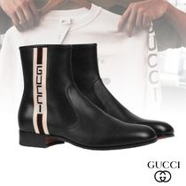GUCCI Stripes Plain Toe Leather Chelsea Boots Chelsea Boots