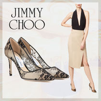 Jimmy Choo Flower Patterns Leather Pin Heels Pointed Toe Pumps & Mules