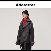 ADERERROR Unisex Leather Biker Jackets