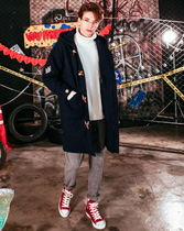 WV PROJECT Unisex Wool Street Style Collaboration Plain Long Coats