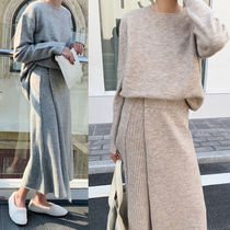 Casual Style Wool U-Neck Long Sleeves Plain Long Dresses