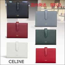 CELINE Strap Unisex Bi-color Plain Leather Folding Wallets