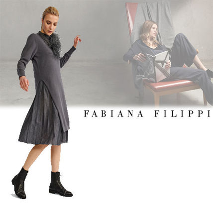 Casual Style A-line Wool Long Sleeves Plain Long Dresses