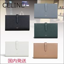 CELINE Strap Unisex Plain Leather Folding Wallets