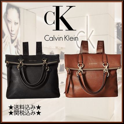 Casual Style Street Style A4 2WAY Plain Leather Backpacks