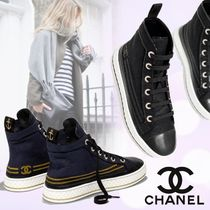 CHANEL Lace-up Casual Style Plain Leather Low-Top Sneakers