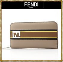 FENDI Unisex Street Style Leather Long Wallets