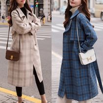 Other Check Patterns Wool Plain Long Elegant Style Coats