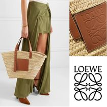LOEWE Plain Leather Straw Bags