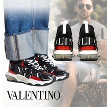 VALENTINO Blended Fabrics Studded Street Style Leather Sneakers