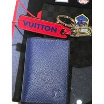 Louis Vuitton TAIGA Blended Fabrics Street Style Plain Leather Card Holders