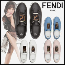 FENDI Monogram Round Toe Rubber Sole Casual Style Studded Plain
