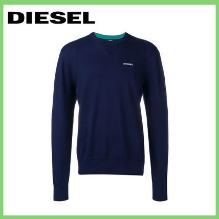 DIESEL Sweatshirts Crew Neck Street Style Long Sleeves Plain Cotton Sweatshirts