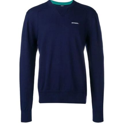 DIESEL Sweatshirts Crew Neck Street Style Long Sleeves Plain Cotton Sweatshirts 7