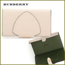 Burberry Plain Leather Folding Wallets