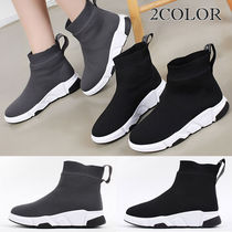 Wedge Round Toe Casual Style Faux Fur Street Style Plain