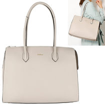 FURLA PIN A4 Plain Leather Office Style Totes