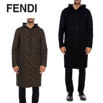 FENDI Monogram Wool Plain Long Duffle Coats