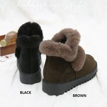 HOLLY Argile Platform Round Toe Casual Style Faux Fur Street Style