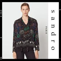 sandro Flower Patterns Star Casual Style Chiffon Long Sleeves
