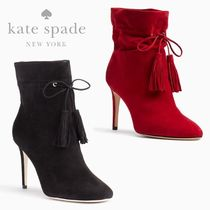 kate spade new york Round Toe Casual Style Suede Tassel Plain Pin Heels