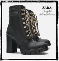 ZARA Platform Mountain Boots Casual Style Plain Leather