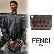 FENDI Monogram Unisex Street Style Leather Clutches