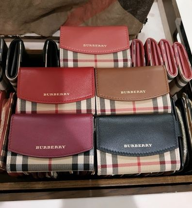 Other Check Patterns Bi-color Leather Card Holders