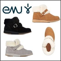 EMU Australia Round Toe Casual Style Fur Plain Ankle & Booties Boots
