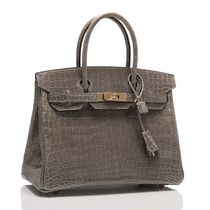 HERMES Birkin Crocodile Leather Handmade Party Style Elegant Style