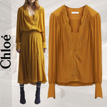 Chloe Long Sleeves Plain Lace Elegant Style Shirts & Blouses