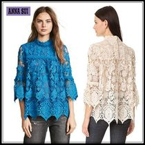 ANNA SUI Flower Patterns Cropped Medium Lace Elegant Style