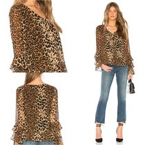 Line & Dot Leopard Patterns Casual Style Long Sleeves Medium