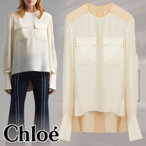 Chloe Casual Style Silk Bi-color Plain Long Puff Sleeves