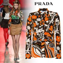 PRADA Flower Patterns Long Sleeves Medium Elegant Style