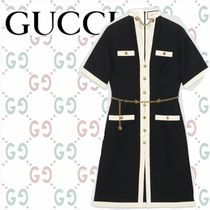 GUCCI Wool Blended Fabrics Plain Long Short Sleeves Tunics