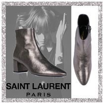Saint Laurent LOULOU Plain Leather Chunky Heels Ankle & Booties Boots