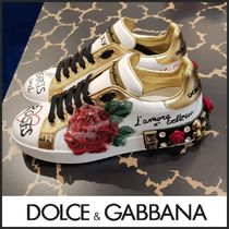 Dolce & Gabbana Flower Patterns Plain Toe Rubber Sole Blended Fabrics