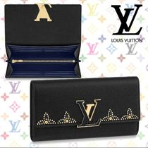 Louis Vuitton CAPUCINES Blended Fabrics Studded Plain Leather Long Wallets