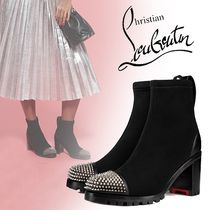 Christian Louboutin Round Toe Casual Style Blended Fabrics Studded Plain Leather