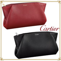 Cartier Unisex Plain Leather Elegant Style Clutches