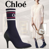 Chloe Stripes Casual Style Blended Fabrics Pin Heels