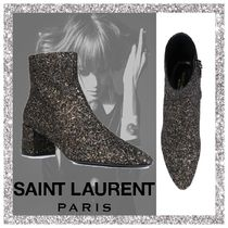 Saint Laurent Leather Chunky Heels Ankle & Booties Boots