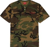 Supreme Camouflage Henry Neck Street Style Cotton Short Sleeves