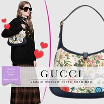 GUCCI Flower Patterns Blended Fabrics Leather Elegant Style